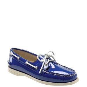 Sperry Glossy Blue Patent Boat Deck Loafers